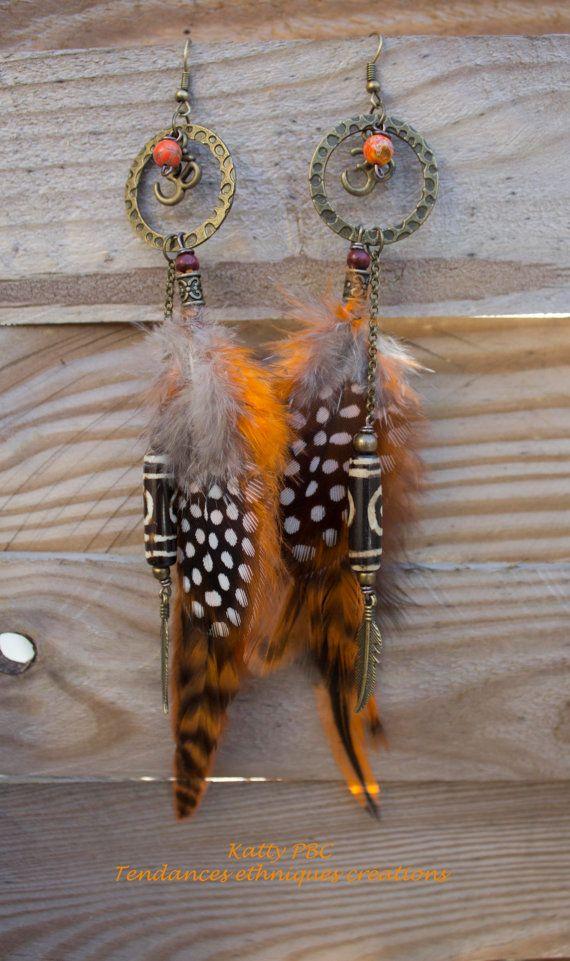 Boucles d'oreilles ethniques plumesGauhar par Tendancesethniques