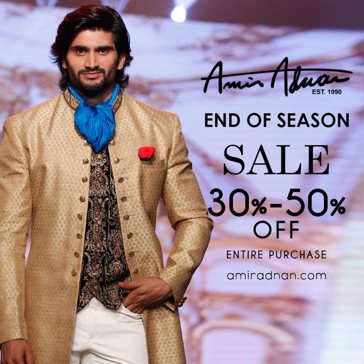 END OF SEASON SALE!!! Update your wardrobe with #FallsMostWanted. 30% - 50% off on ENTIRE PURCHASE. Shop in stores & online: amiradnan.com #AmirAdnan #SaleAlert #AmirAdnansignature #AmirAdnancouture #Waistcoats #JogPants #Floraljackets #Monochromekurtas #Rawsilkkurta #AmirAdnanKurta #AmirAdnanSherwani #mensfashion #kingofmenswear #fashionblog #mensblog #ShopNow #menstrends #Karachi #Lahore #Islamabad #Multan #Faisalabad #Rawalpindi