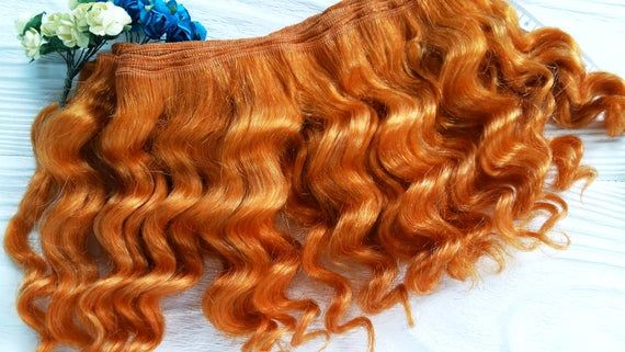 "mohair weft wavy ""Golden orange"", doll hair, Blythe hair, waldorf doll hair"