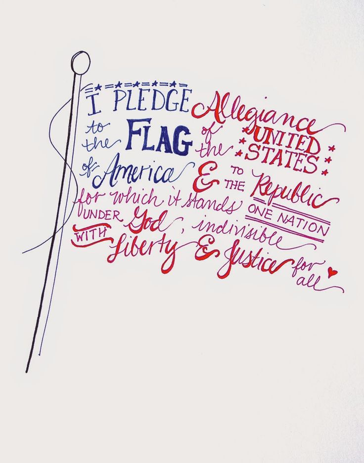 Free hand-lettered flag printable for the Fourth of July!