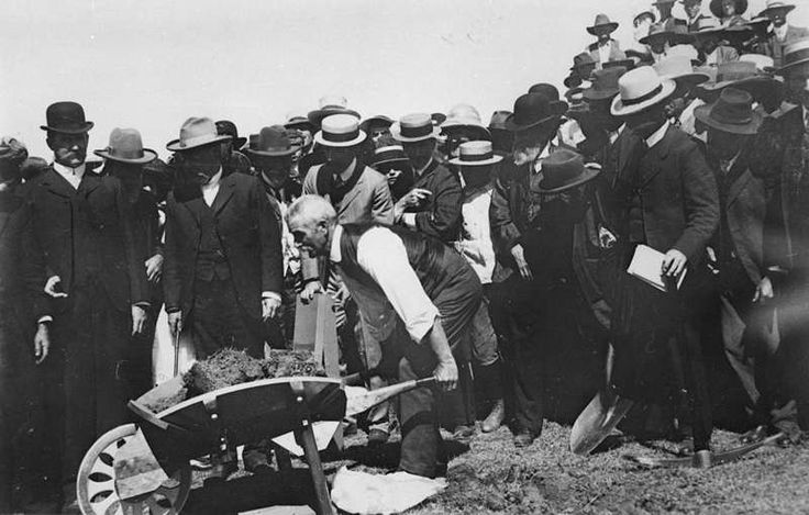 Picture of / about 'Laidley' Queensland - Minister for Railways, the Honourable Walter Trueman Paget, turning the first sod for the Laidley Valley Railway Line, 1910