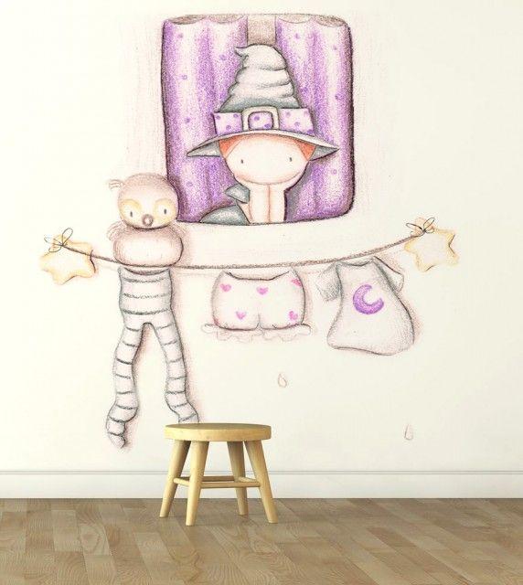 """Mural infantil de papel pintado """"Bruja ventana"""""""