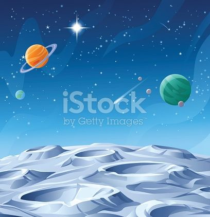Surface of a gray alien planet, asteroid or moon saturated with craters. In the background is a dark blue sky full of stars and planets. Vector illustration with space for text.