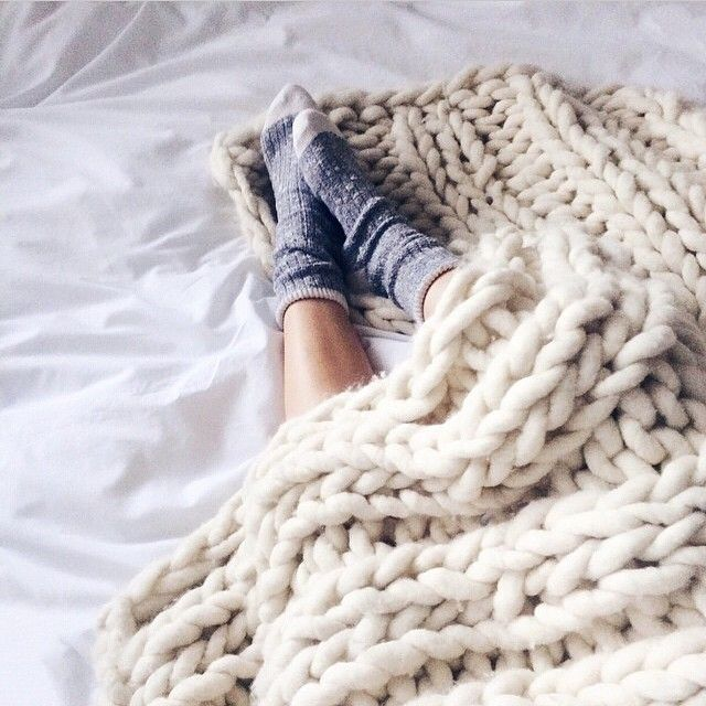 Chunky knit blanket.