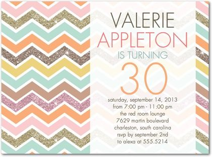 Chevron Sparkle - Adult Birthday Party Invitations in Poppy or Pewter | Hello Little One