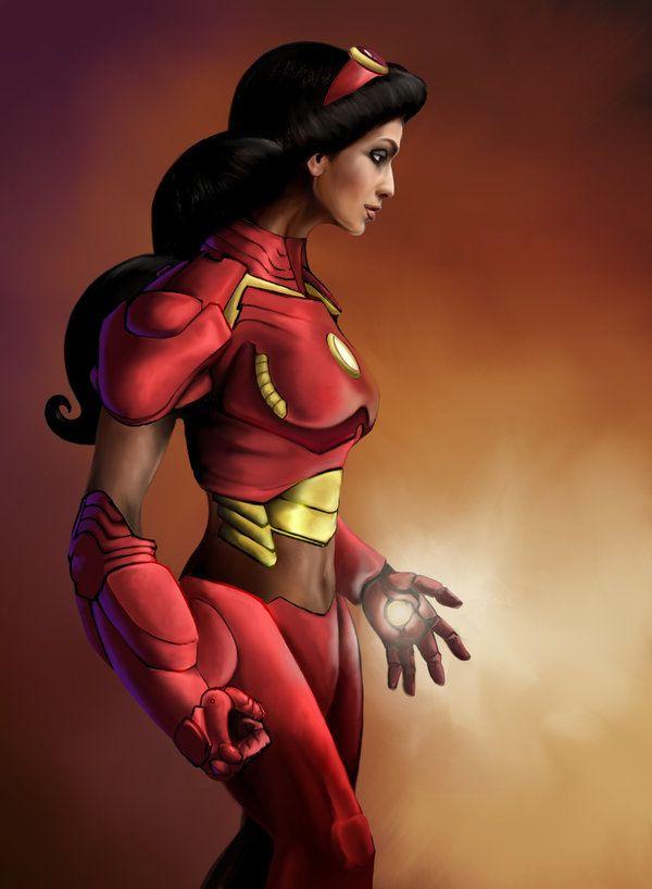 Jasmine as Iron Man.