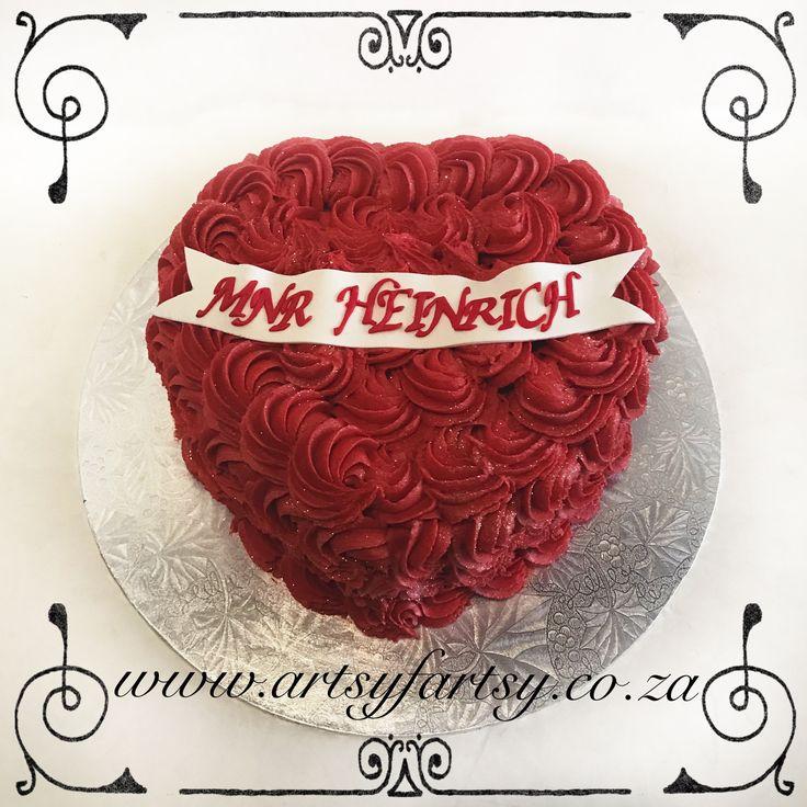 Butter Icing Rose Heart Cake #buttericingrosecake #heartcake