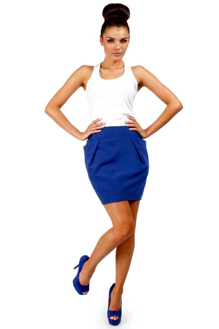 Cornflower blue mini skirt with cut baubles