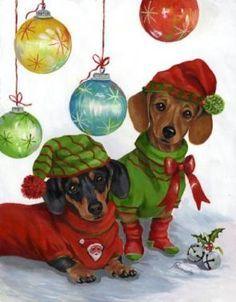 Dachshund Jingles Christmas GARDEN FLAG by Designed by artist Suzanne Renaud, http://www.amazon.com/dp/B001TY9LJC/ref=cm_sw_r_pi_dp_nVuWqb0R7GQTA