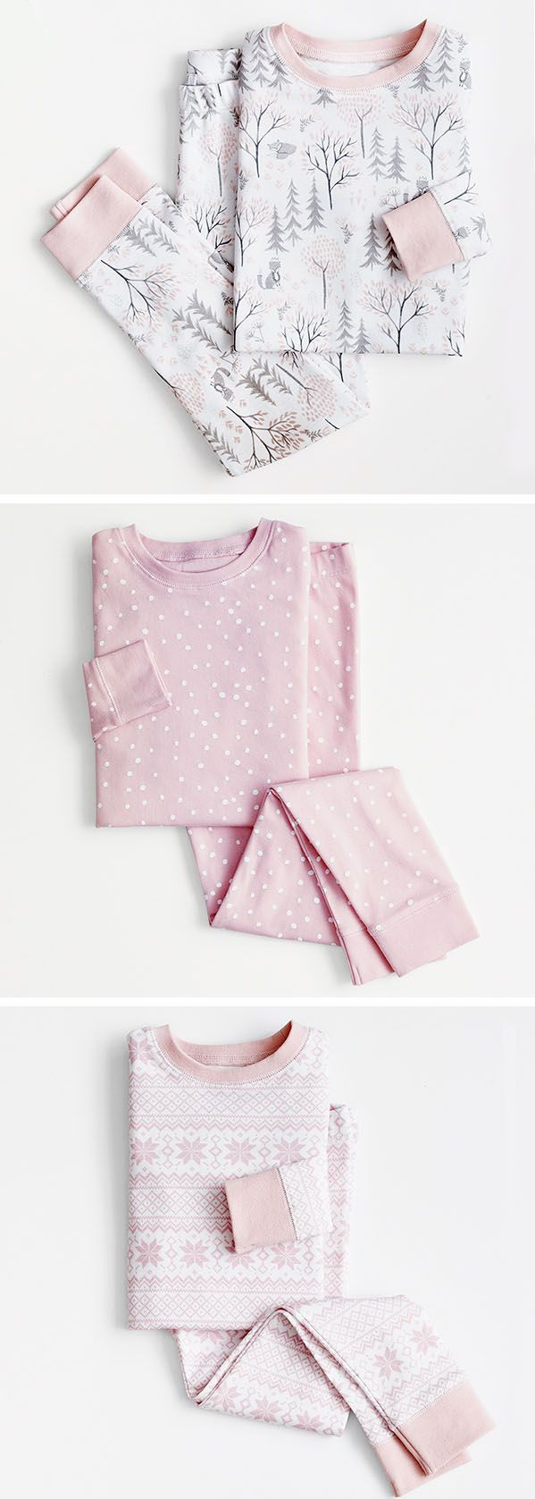 Festive wintertime pajamas perfect for little elves.