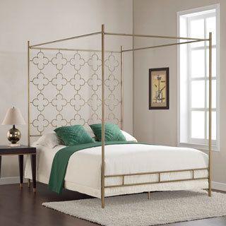 Retro Glitz Quatrefoil Queen Canopy Bed