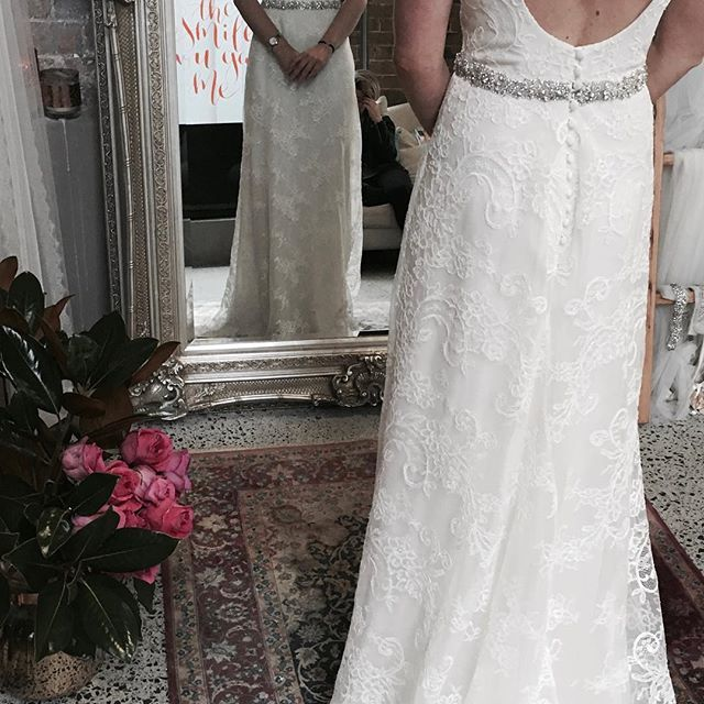 White lace low back wedding gown custom couture made by Moira Hughes in Paddington Sydney. #lace #weddingdress #couturegown #lacedress