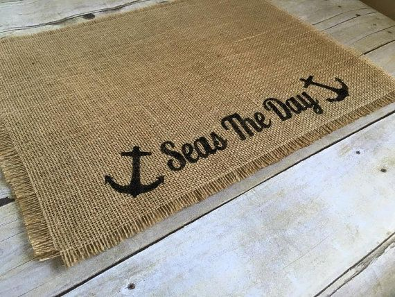 Burlap Placemats 14x18 Seas The Day Placemats by LibertyByDesign