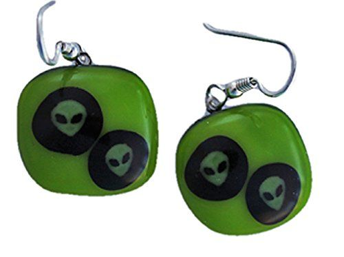 Jewels of Fire Twin Roswell Inspired Alien Glass Drop Earrings in Lime Green and Black for Halloween