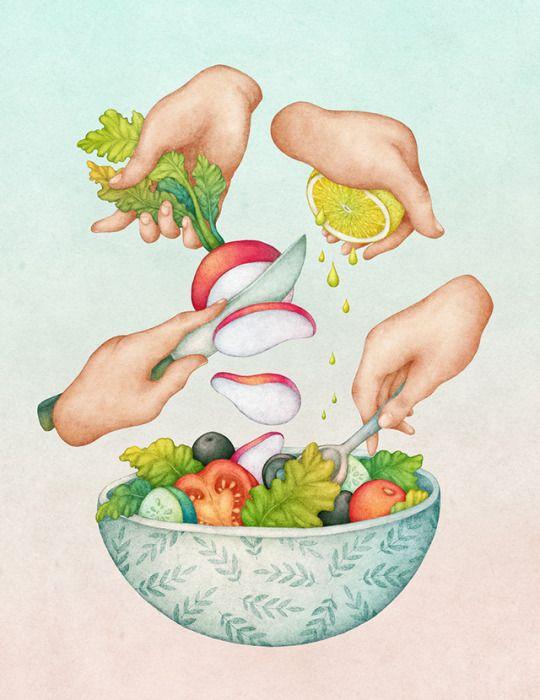 Fresh Salad. Food illustration by Olga Svart.
