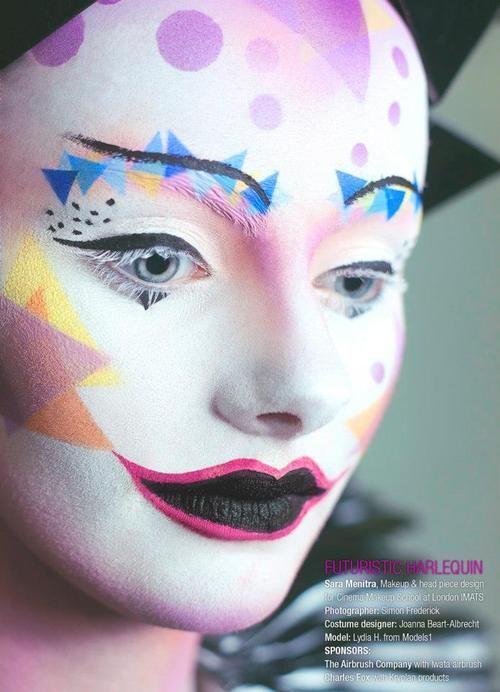 FUTURISTIC HARLEQUIN Sara Menitra, Makeup & head piece design for Cinema Makeup School at London IMATS Photographer: Simon Frederick