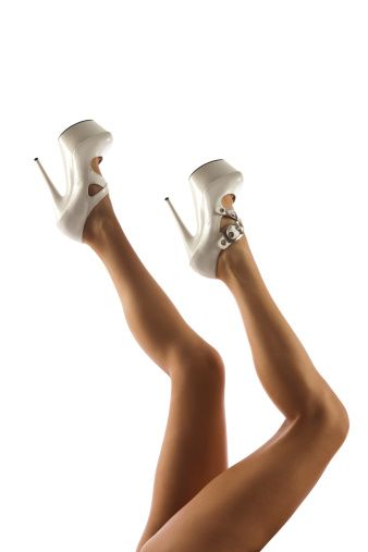 Милые женщины Длинные Тан Ноги, Высокие каблуки Белый Spike