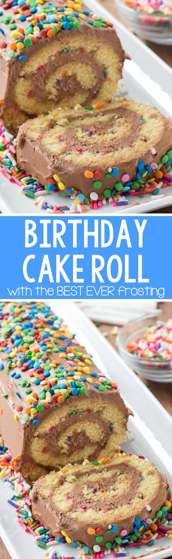 Birthday Cake Roll - this easy cake roll recipe is full of sprinkles and the BEST EVER chocolate frosting. EVERYONE loved the frosting so much!