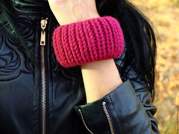 """Купить Широкий браслет """"Марсала"""" вязаные браслеты - текстильный браслет, фактурный браслет, Вязаный браслет"""