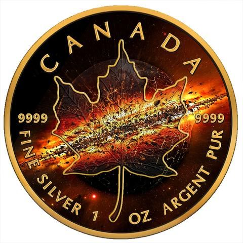 2017 RCM 1 Ounce Apocalypse II Maple Leaf Colored and Gold Plated Ruthenium Silver Coin - Art in Coins