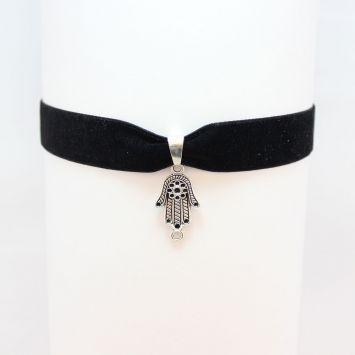 Вельветовый чокер - Хамса  Серебряный с черным