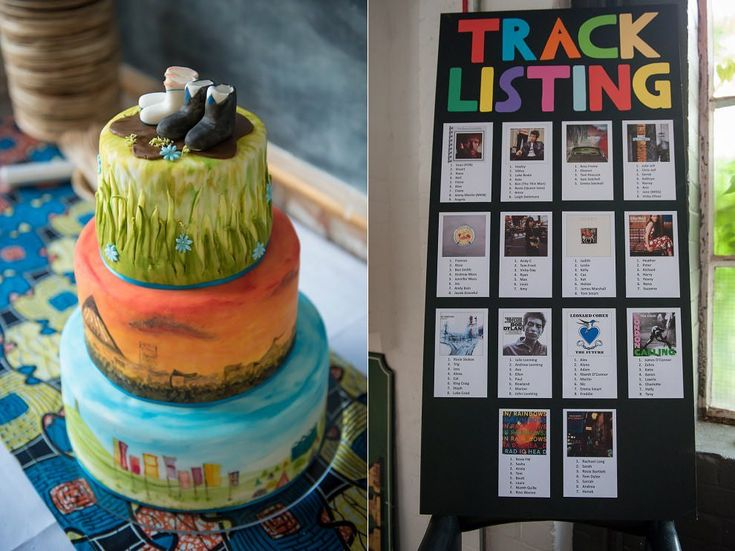 Table listing wedding - album covers as table names | Handpainted personalised wedding cake