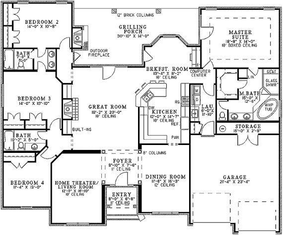 planos de casas de una planta de 4 dormitorios | Diseños ...