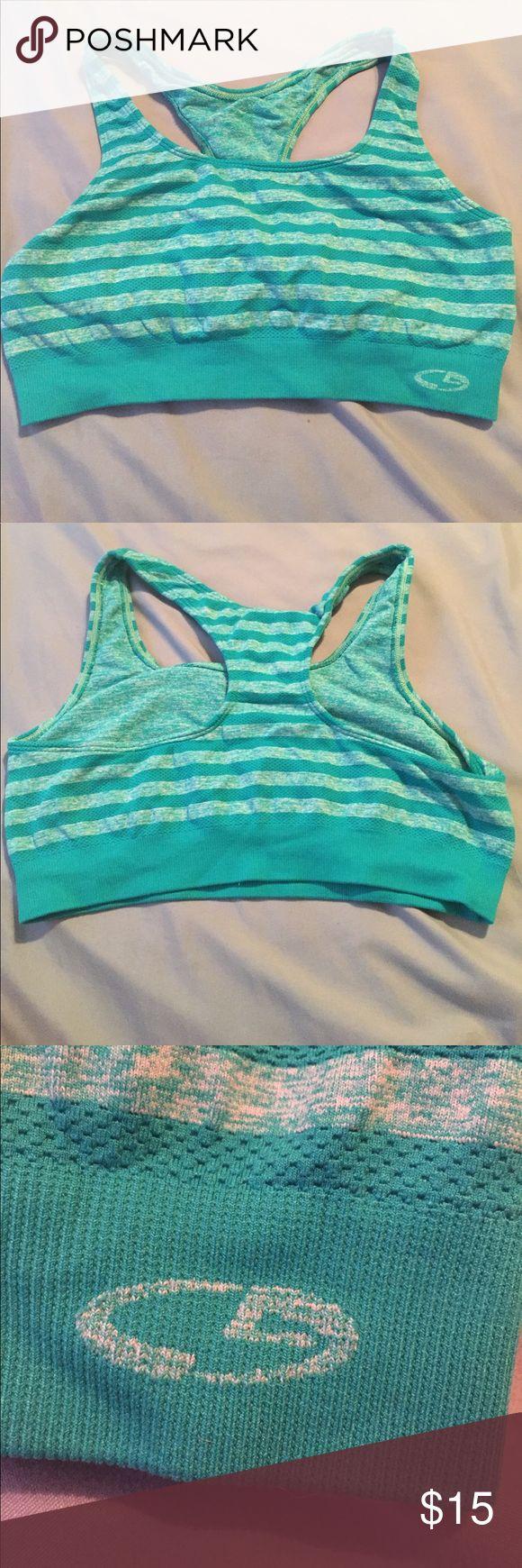 Green striped sports bra Green striped sports bra. Barely worn. Champion Intimates & Sleepwear Bras
