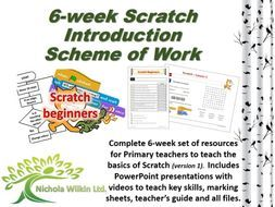 6-Week #Scratch Scheme of Work by Nichola Wilkin Ltd. – A complete set of resources for #teaching the #basics of Scratch (version 1) for #primary teachers.  Includes PowerPoint presentations including videos to #teach key skills, #teacher guide, answer book, marking sheets and handouts.  More resources available from www.nicholawilkin.com #computing #teaching
