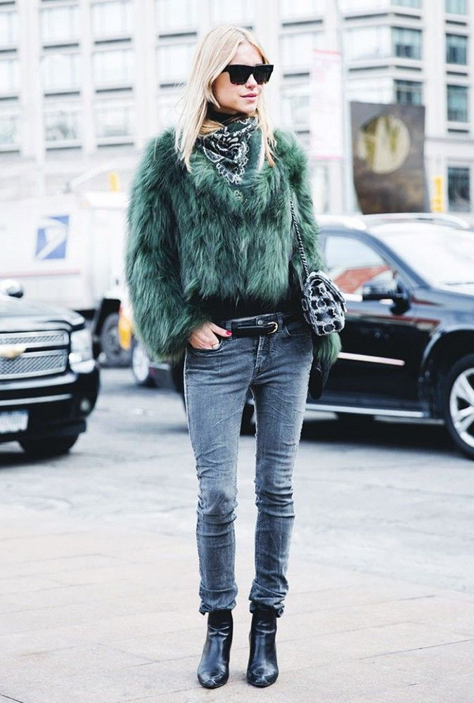 Pair your skinnies with black boots and a colorful furry coat.