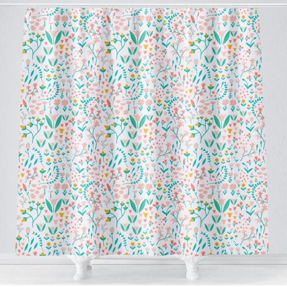 Pink Floral Girl Shower Curtain Girl Bathroom Curtain Toddler