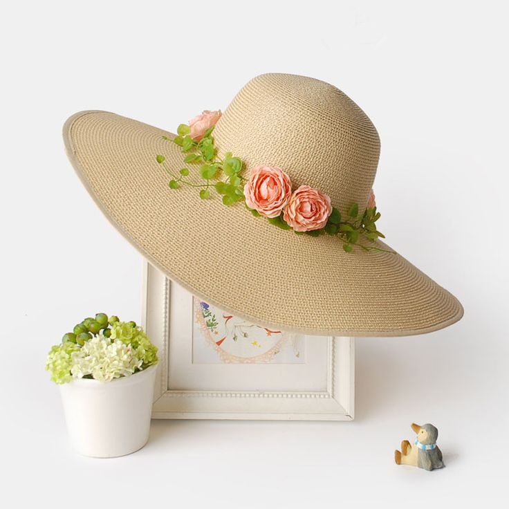 Beige straw sun hat for womens pink flowers decoration sun hat | Buy cool cap,fashion hats on buyhathats.com