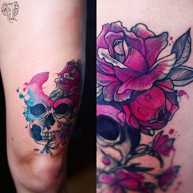 DŻO Lama aposta nas cores e na aquarela para criar tatuagens inspiradas em mulheres, animais e flores