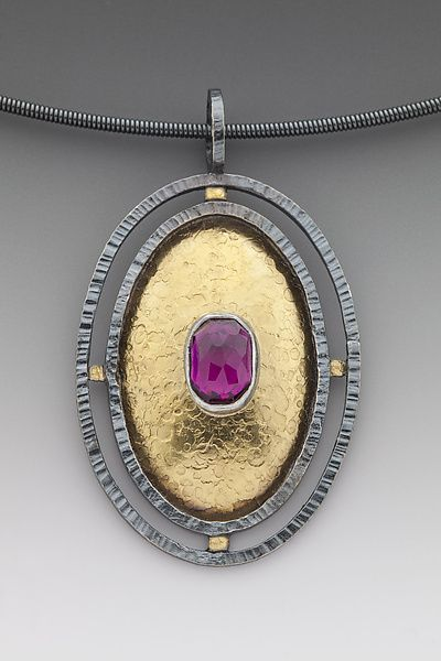Garnet+Oval+Pendant by Anna+Tai: Gold,+Silver+&+Stone+Necklace available at www.artfulhome.com