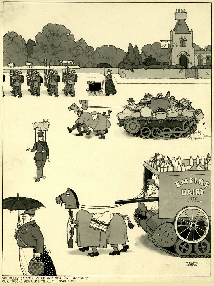"""W. Heath Robinson, """"Skilfully camouflaged against dive bombers, our troops advance to repel invaders,"""" 1941 Copyright The Estate of Mrs. J. C. Robinson - Cartoon Museum London. Source http://www.wilhelm-busch.de"""