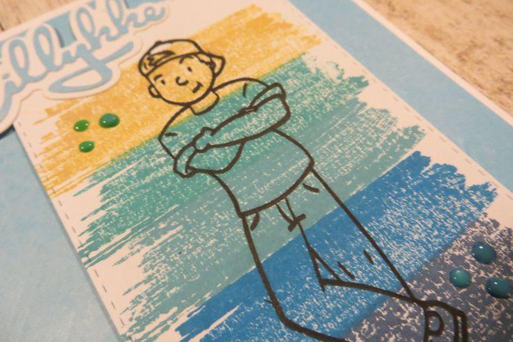 detalje billede-stemplet Teenage Drenge af NHH Design. kortet er lavet af Randi Heldt-Hansen