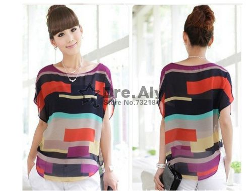 fashion Women blouse chiffon shirts Multi-colour Striped print Loose style Short Sleeve Brand Blouse casual plus size top