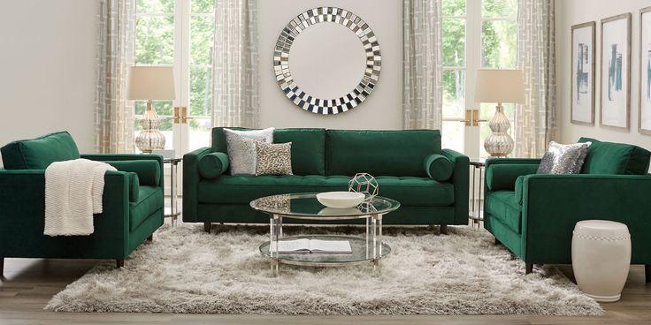 sofia vergara pacific palisades emerald plush sofa  rooms