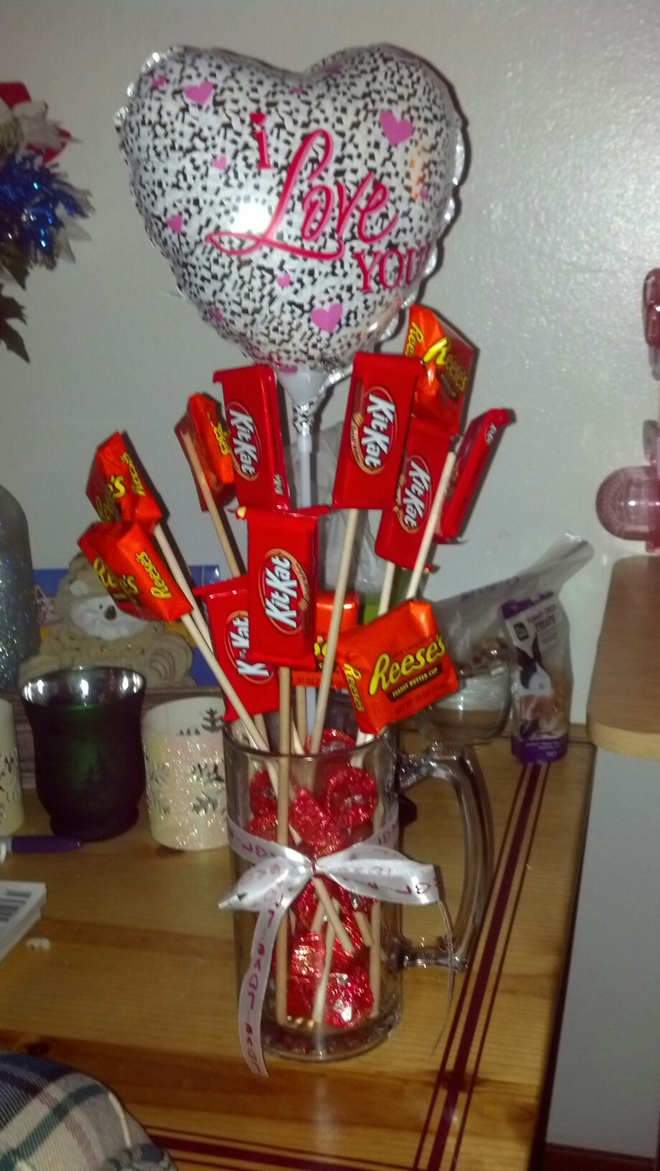 Beer Mug Chocolate Bouquet Diy Baskets Pinterest