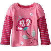 Novo 2016 de qualidade de marca 100% de algodão do bebê meninas de roupas crianças da criança roupa dos miúdos t-shirts de manga comprida t das meninas t-shirts