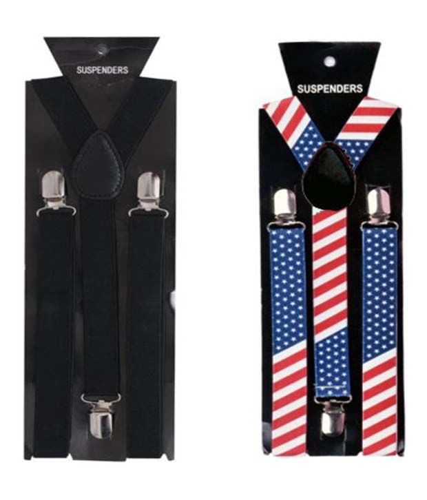 At Your Door Multicolor Elastic And Leather Back Suspenders For Men - Pack Of 2