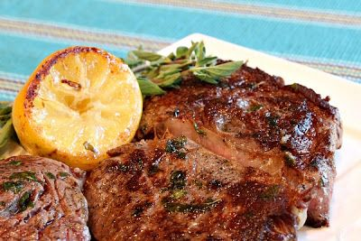 Pic of Absolutely delicious 5* - Pan Fried Lemon- Garlic Rib Eye Steaks- rub and wrap for day or more pan fried lemon- garlic rib eye steaks