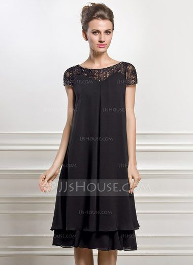 Empire Scoop Neck Knee-Length Chiffon Mother of the Bride Dress With Beading Sequins (008057066) - JJsHouse
