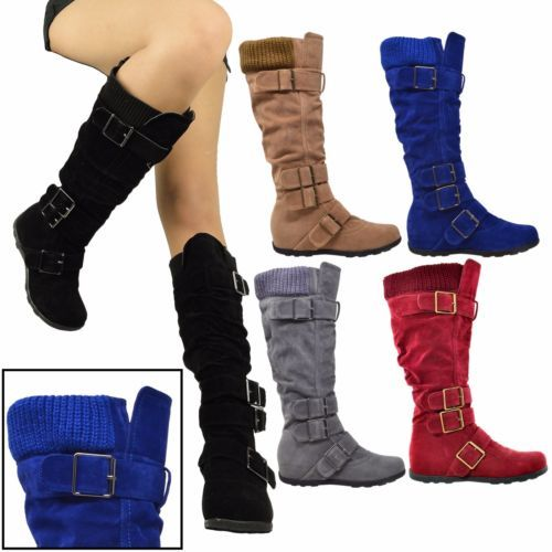 Womens-Boots-Knee-High-Mid-Calf-Military-Flat-Adjustable-Straps-Suede-Comfort