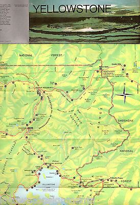 YELLOWSTONE NATIONAL PARK WYOMING VINTAGE GRAPHIC ADVERTISING FOLDOUT POSTER MAP