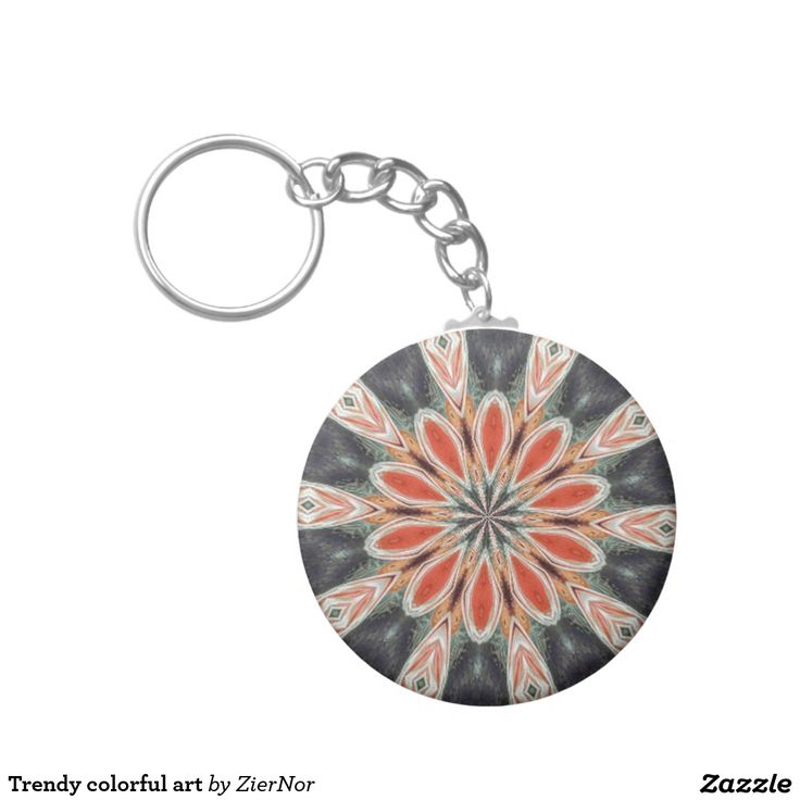 Trendy colorful art basic round button keychain