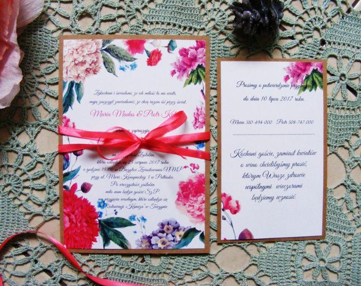 Zaproszenia ślubne kwiaty czerwone, różowe, fioletowe