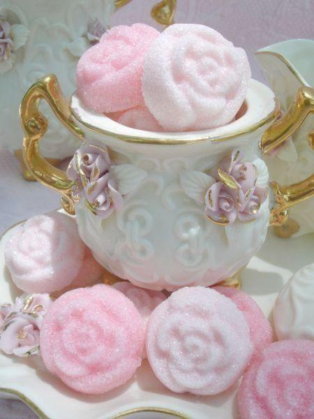 Tea:  Rose-shaped sugar cubes for #tea time.