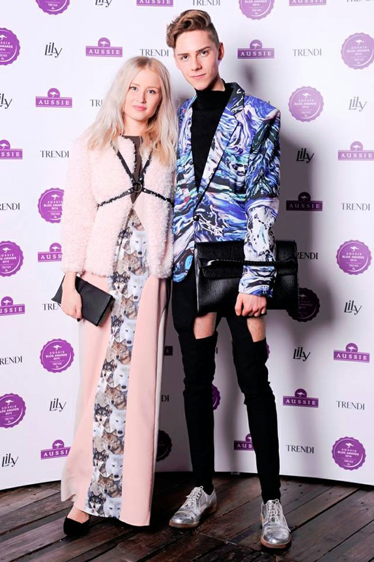 Annaliina wearing wolfdress from JULJA and Mikko Puttonen wearing Meri Cut-Out Pants from JULJA at Aussie blog awards 2014  Pictures from http://annaliina.indiedays.com/ and http://www.mikkoputtonen.com/