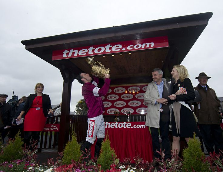 Davy Rusell celebrates after winning the thetote.com Punchestown Gold Cup on Sir Des Champs Punchestown Festival